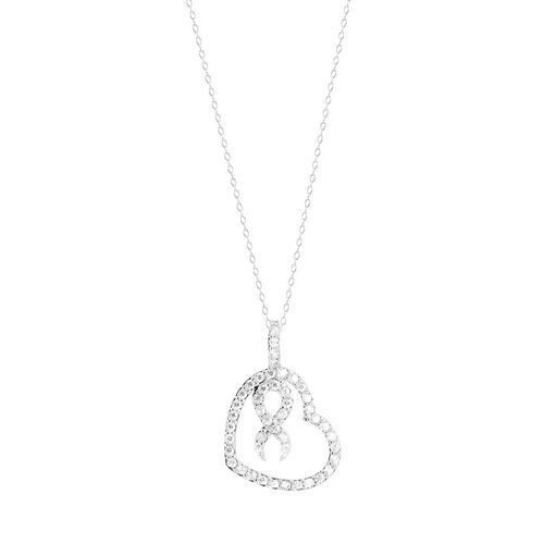 AAA Simulated White Diamond (Rnd) Heart Pendant With Chain in Sterling Silver