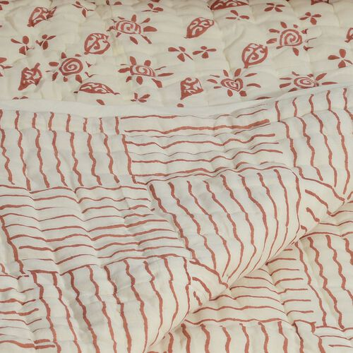 100% Cotton Hand Block Red Mahogani Colour Leaves and Sun Printed White Colour Quillow (Size 220x140 Cm)
