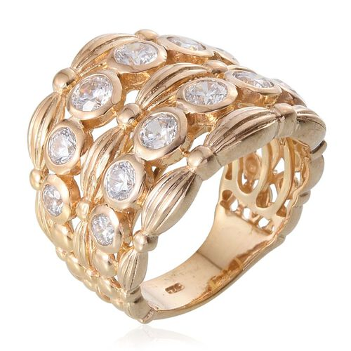 J Francis - 14K Gold Overlay Sterling Silver (Rnd) Ring Made with SWAROVSKI ZIRCONIA 2.620 Ct.