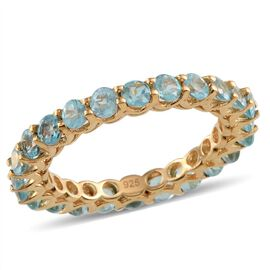 Paraibe Apatite (Rnd) Full Eternity Ring in Yellow Gold Overlay Sterling Silver 2.250 Ct.