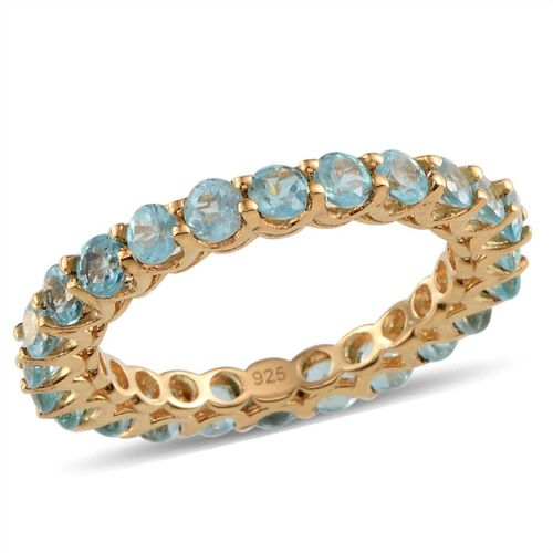 Yellow Gold Plated Silver 2.25 Carat Paraibe Apatite Full Eternity Ring