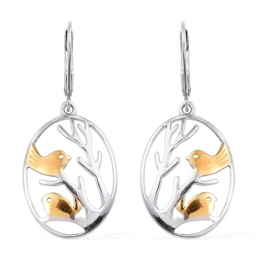 Platinum Overlay Sterling Silver Perching Birds Lever Back Earrings, Silver wt 5.19 Gms.