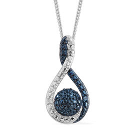 Blue and White Diamond (Rnd) Pendant with Chain in Platinum Overlay Sterling Silver