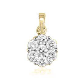 ILIANA 18K Y Gold IGI Certified Diamond (Rnd 0.20 Ct) (SI/G-H) 7 Stone Floral Pendant 1.000 Ct.