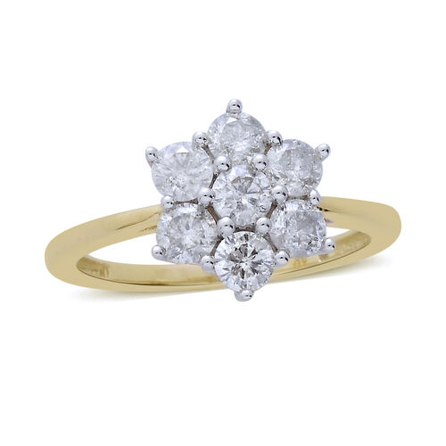 9K Yellow Gold SGL Certified 1 Carat Diamond (Rnd) (I3/G-H) 7 Stone Floral Ring.