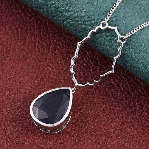 Kimberley Crimson Spice Collection Enhanced Sapphire (Pear) Necklace (Size 18) in Platinum Overlay Sterling Silver 13.250 Ct.