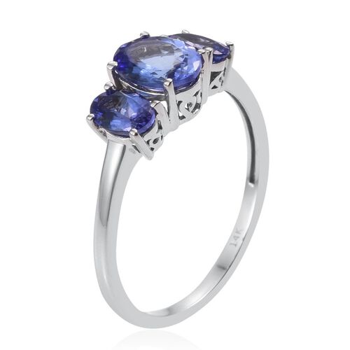 14K W Gold Tanzanite (Ovl 1.10 Ct) 3 Stone Ring 2.000 Ct.