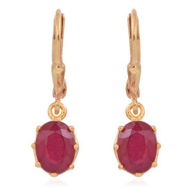 African Ruby (Ovl) Lever Back Earrings in 14K Gold Overlay Sterling Silver 3.500 Ct.