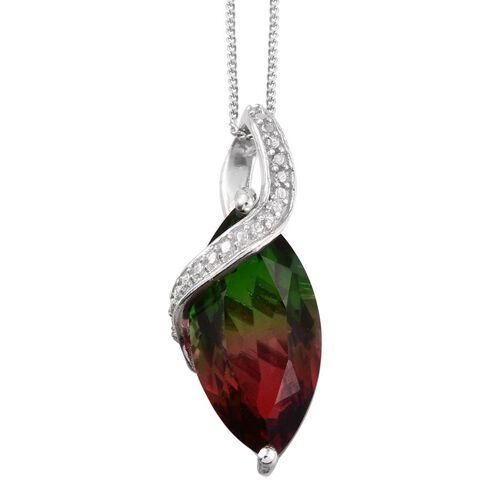 Bi-Color Tourmaline Quartz (Mrq) Solitaire Pendant With Chain in Platinum Overlay Sterling Silver 6.500 Ct.