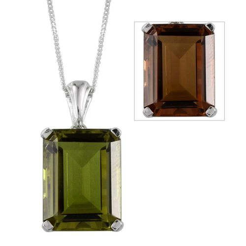 Alexite (Oct) Solitaire Pendant With Chain in Platinum Overlay Sterling Silver 11.500 Ct.