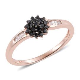 Black Diamond (Rnd), White Diamond Ring in Rose Gold Overlay Sterling Silver 0.250 Ct.