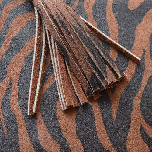 Set of 2 - Genuine Leather Chocolate Colour Zebra Printed Tassel Pouch with Card Slot inside (Size 19.5x12.5 Cm)