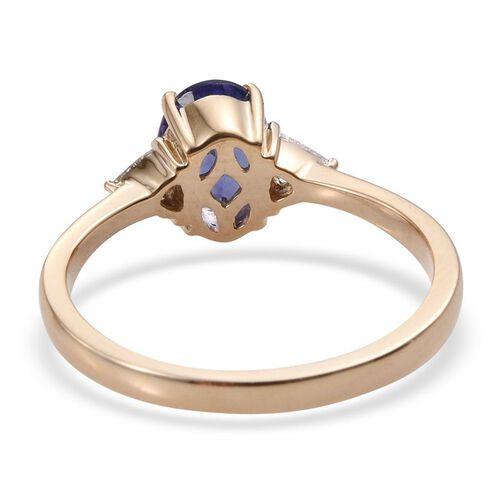 ILIANA 18K Yellow Gold 1.50 Carat AAA Tanzanite Oval, Diamond SI G-H Ring.