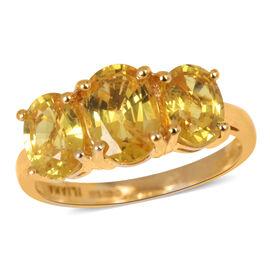 ILIANA 18K Y Gold AAA Yellow Sapphire (Ovl 1.75 Ct) 3 Stone Ring 3.750 Ct.
