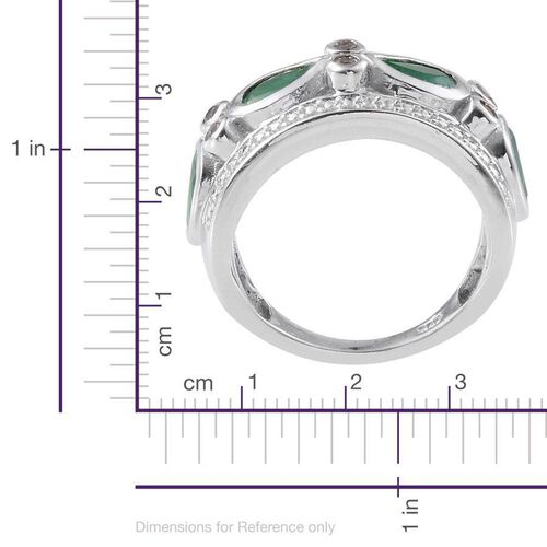 Kagem Zambian Emerald (Pear), White Topaz Ring in Platinum Overlay Sterling Silver 1.650 Ct.