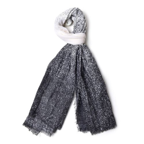 Black and White Colour Ombre Pattern Scarf with Fringes (Size 180X90 Cm)