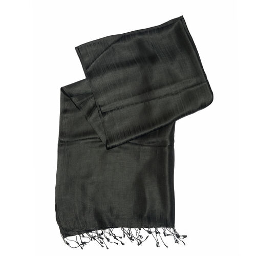 Close Out Deal- 55% Silk Black Colour Scarf with Fringes (Size 200x70 Cm)