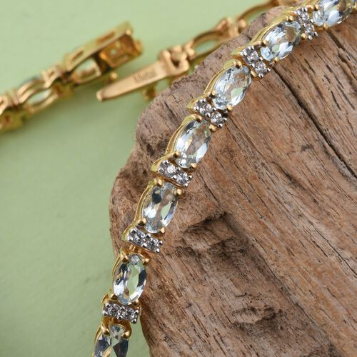 Aquamarine and Zircon 5.83 Ct Silver Tennis Bracelet in Gold Overlay (Size 7.5)