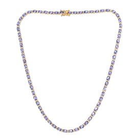 Tanzanite (Ovl), White Topaz Necklace (Size 18) in 14K Gold Overlay Sterling Silver 28.000 Ct.