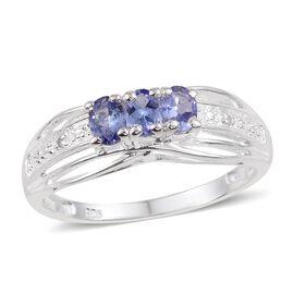 Tanzanite (Ovl), Diamond Ring in Sterling Silver 0.500 Ct.