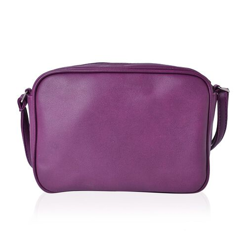 Purple Colour Crossbody Bag with Adjustable Shoulder Strap (Size 23.5x15.5x7 Cm)