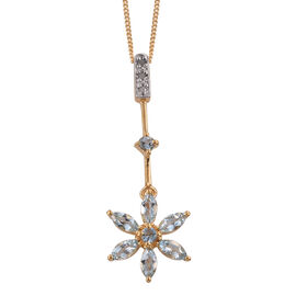 Espirito Santo Aquamarine (Rnd), Diamond Floral Pendant with Chain in 14K Gold Overlay Sterling Silver 1.000 Ct.