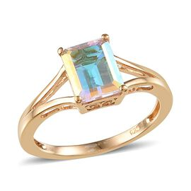 Mercury Mystic Topaz (Oct) Solitaire Ring in 14K Gold Overlay Sterling Silver 2.000 Ct.