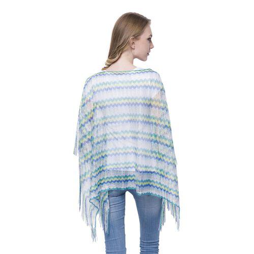 Green, Yellow, Blue and Multi Colour Stripe Pattern Poncho (Size 90x55 Cm) and White Colour Vest (Size 60x55 Cm)