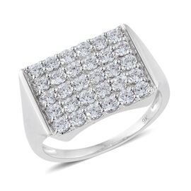 9K White Gold Cluster Ring Made with SWAROVSKI ZIRCONIA
