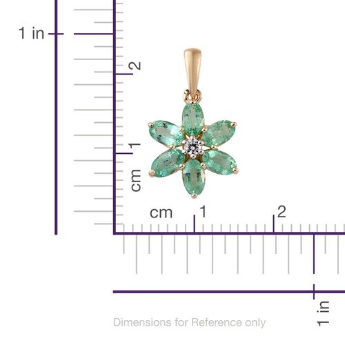 9K Yellow Gold 1.37 Ct AA Colombian Emerald Flower Pendant with Natural Cambodian Zircon