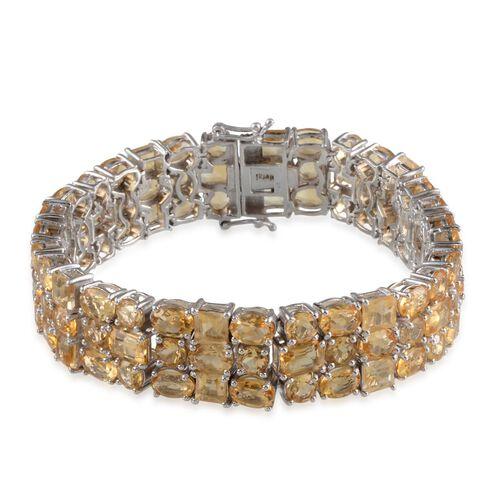 Citrine (Ovl) Bracelet in Platinum Overlay Sterling Silver (Size 7.5) 61.250 Ct.