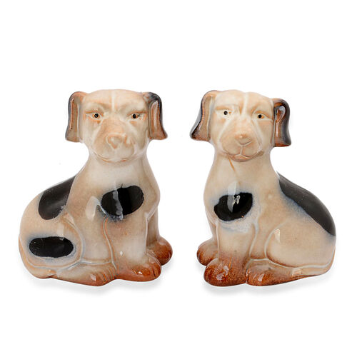 Set of 2 - Home Decor - Black and Grey Ceramic Porcelain Dog