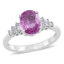 ILIANA 18K W Gold AAA Pink Sapphire (Ovl 2.15 Ct), Diamond (SI/G-H) Ring 2.250 Ct.