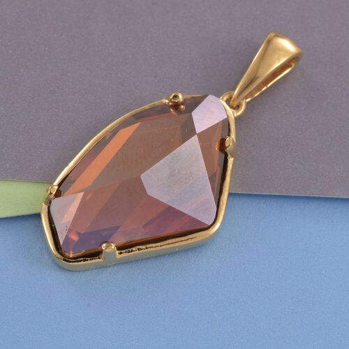 J Francis Crystal from Swarovski - Red Mystic Colour Crystal Pendant in 14K Gold Overlay Sterling Silver