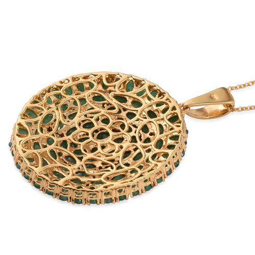 Kagem Zambian Emerald (Ovl) Cluster Pendant With Chain in 14K Gold Overlay Sterling Silver 19.500 Ct.