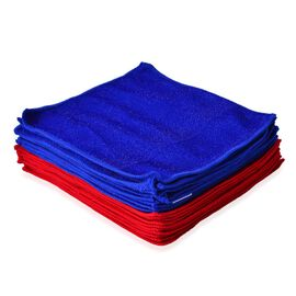Set of 20 - Dark Blue and Red Colour Double Sided, Multifunctional Microfibre Towel (Size 24x24 Cm)