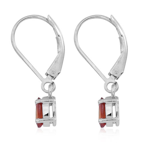 Orange Sapphire (Ovl) Lever Back Earrings in Rhodium Plated Sterling Silver 1.250 Ct.