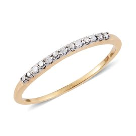 Diamond Stackable Half Eternity Ring in 14k Gold Overlay Sterling Silver