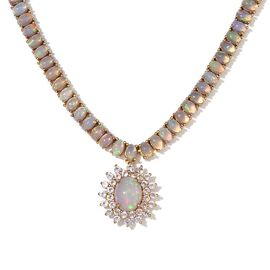 Ethiopian Welo Opal (Ovl 1.50 Ct), White Topaz Necklace (Size 18) in 14K Gold Overlay Sterling Silver 15.250 Ct.