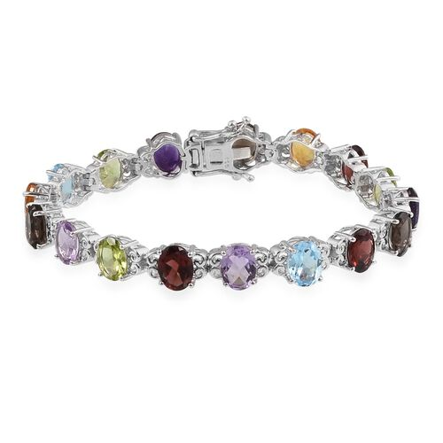 Amethyst (Ovl), Mozambique Garnet, Sky Blue Topaz, Hebei Peridot, Rose De France Amethyst, Citrine and Brazilian Smoky Quartz Bracelet (Size 7) in Platinum Overlay Sterling Silver 22.000 Ct.