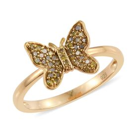Yellow Diamond (Rnd) Butterfly Ring in 14K Gold Overlay Sterling Silver 0.200 Ct.