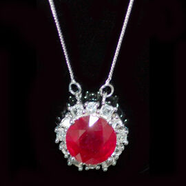 African Ruby (Rnd 7.00 Ct), White Topaz Pendant With Chain in Sterling Silver 8.020 Ct.