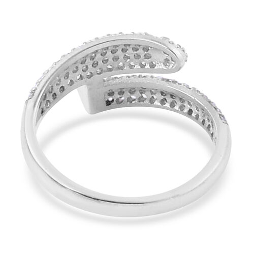 ELANZA AAA Simulated White Diamond Twisted Nail Ring in Platinum Overlay Sterling Silver