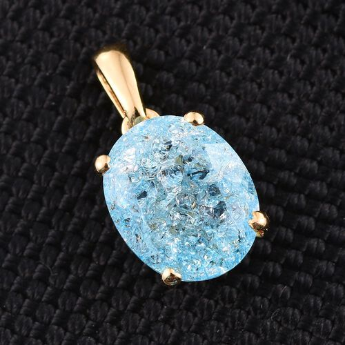 Paraiba Blue Crackled Quartz (Ovl) Solitaire Pendant in 14K Gold Overlay Sterling Silver 3.250 Ct.
