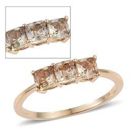 9K Y Gold Natural Turkizite (Cush) Trilogy Ring 1.000 Ct.