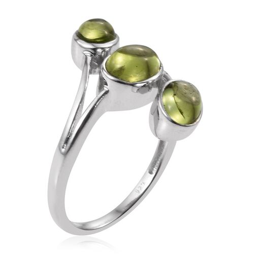 AA Hebei Peridot (Ovl 1.40 Ct) 3 Stone Ring in Platinum Overlay Sterling Silver 3.000 Ct.