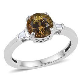 14K White Gold 2.55 Carat Natural Yellow Tanzanite Round, Diamond Ring.
