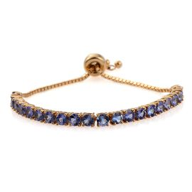 Tanzanite (Rnd) Adjustable Bracelet (Size 6.5 to 7.25  ) in 14K Gold Overlay Sterling Silver 4.500 Ct.