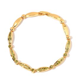 AAA Simulated Peridot Bracelet (Size 6.5) in Yellow Gold Tone