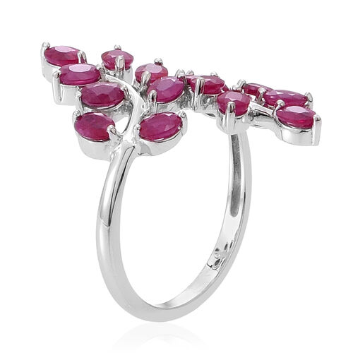 9K W Gold Burmese Ruby (Ovl) Leaf Crossover Ring 3.500 Ct.